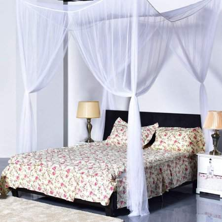 Showyourbest 4 Corner Post Bed Canopy Mosquito Net Full Queen King Size Netting Bedding (White)