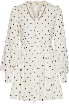 Marc Jacobs - Pussy-bow Glittered Polka-dot Cady Mini Dress - White $795 thestylecure.com