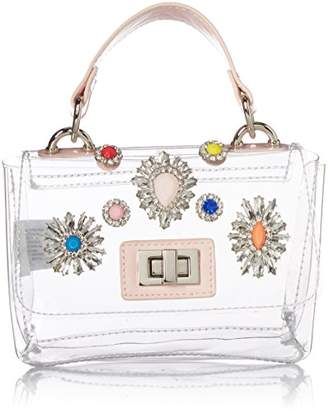 Steve Madden Vickey Clear Bag Multi Colored Jewels and Rhinestones Clutch Crossbody