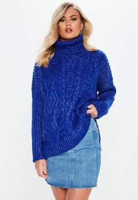 Missguided Blue Oversized Turtle Neck Cable Knit Sweater