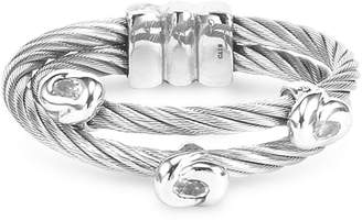 Charriol White Topaz Double Row Cable Ring in Stainless Steel and Sterling Silver