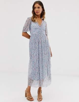 Asos Design DESIGN ditsy print midi mesh tea dress with pleated skirt