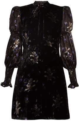 Rebecca Taylor Puff-sleeve violet-print velvet dress