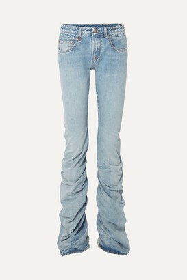 R 13 Shirring Boy Boot Ruched Distressed Mid-rise Jeans - Light denim
