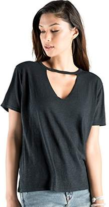 Rebel Canyon Young Women's Short Sleeve Jersey Cut Out V-Neck T-Shirt Top