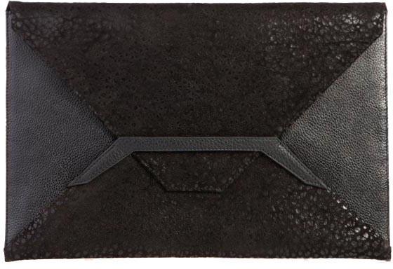 Bracher Emden Black Leather Envelope Clutch