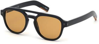 Ermenegildo Zegna Men's Rectangular Acetate Pilot Sunglasses