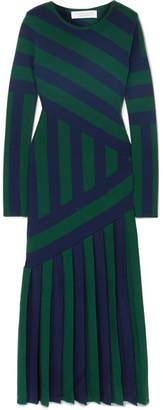 Gabriela Hearst - Felicia Pleated Striped Stretch Wool-blend Midi Dress - Navy