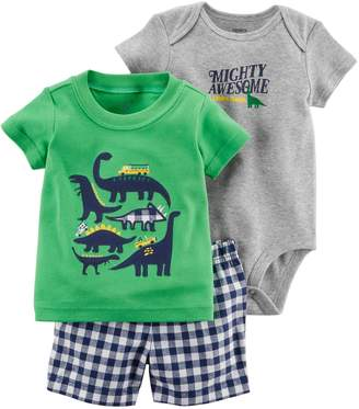 """Carter's Baby Boy Dinosaur Tee, """"Mighty Awesome"""" Bodysuit & Checkered Shorts Set"""