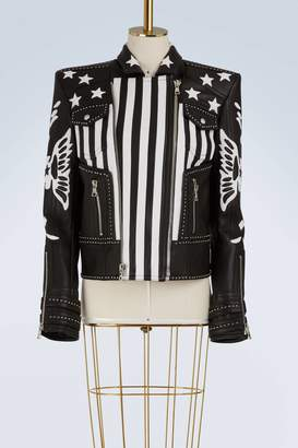 Balmain American flag leather jacket
