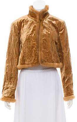 Alberta Ferretti Mink-Trimmed Velvet Jacket