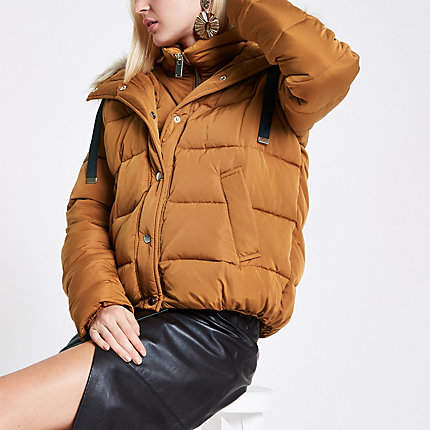 Womens Tan faux fur hooded puffer jacket