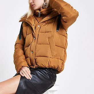 River Island Tan faux fur hooded puffer jacket