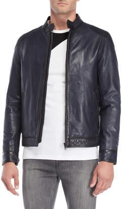 Lth Jkt Navy Vintage Racer Leather Jacket