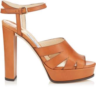 Jimmy Choo HERMIONE 120 Tan Vanchetta Leather Platform Sandals