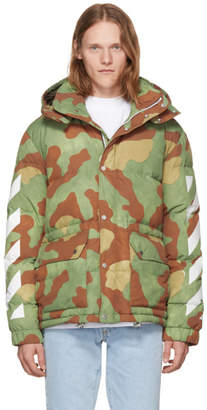 Off-White Green Down Camo Diagonal Arrows Jacket