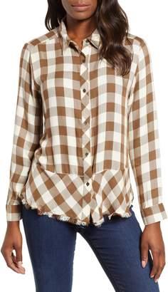 Wit & Wisdom Peplum Plaid Shirt