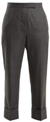 Thom Browne Cropped Wool Trousers - Womens - Dark Grey