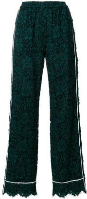 Dolce & Gabbana high waist lace trousers with contrast piped trim