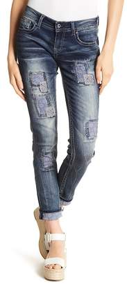 Grace In LA Denim Embroidered Fabric Patch Skinny Jeans