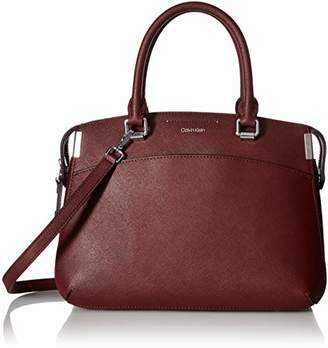 Calvin Klein Raelynn Saffiano Leather Top Zip Satchel