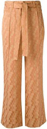Etro drawstring checked cropped trousers