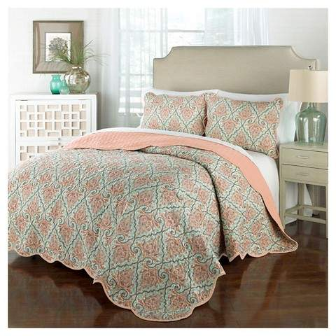 Traditons by Waverly Orange Damask Anatalya Quilt Set 3pc - Traditions by Waverly®