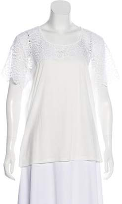 Burberry Short Sleeve Lace-Paneled T-Shirt w/ Tags