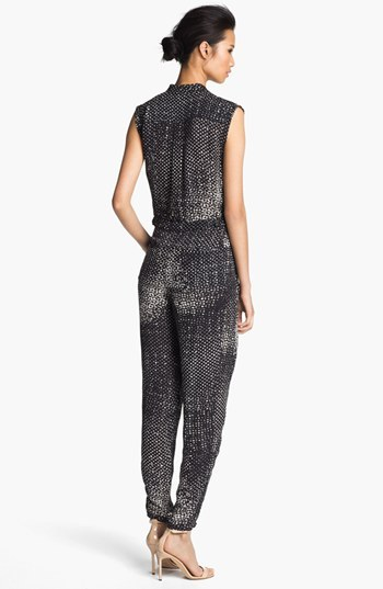 Halston Print Silk Jumpsuit