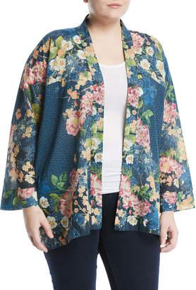 Johnny Was Plus Timmie Floral Long-Sleeve Kimono Cardigan, Plus Size