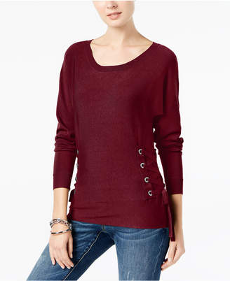 INC International Concepts I.n.c. Scoop-Neck Lace-Up Sweater, Created for Macy's