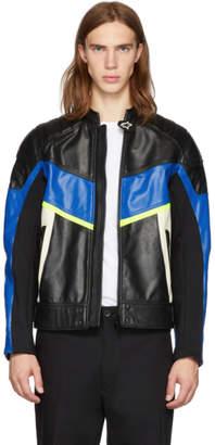 Diesel Black and Blue Leather Astars-LDUE Jacket