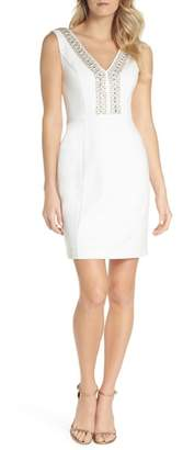 Eliza J Beaded V-Neck Sheath Dress