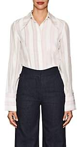 Victoria Beckham Women's Striped Silk Cutout-Sleeve Blouse - Terracota Off White