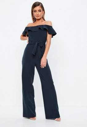 6acef9d8eb37 Free Shipping at Missguided · Missguided Navy Bardot Ruffle Tie Waist Romper