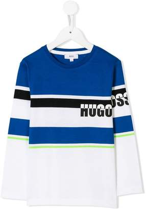 Boss Kids long-sleeve panelled T-shirt