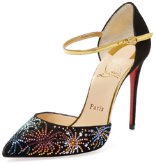 Christian Louboutin  Embellished Suede Two-Piece Pump