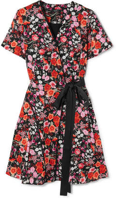 DAY Birger et Mikkelsen Goen J - Lace-trimmed Floral-print Crepe De Chine Wrap Mini Dress - Pink