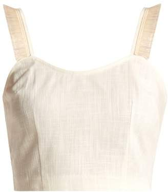 Blend of America Staud - Coco Raffia Trimmed Linen Cropped Top - Womens - Ivory