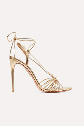 Aquazzura Whisper Lace-up Metallic Leather Sandals - Gold