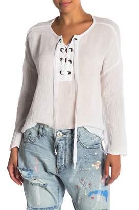 Velvet by Graham & Spencer Alina Long Sleeve Lace-Up Shirt