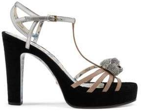 Gucci Leather T-Strap Crystal Feline Head Sandals