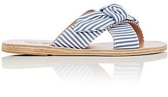 Ancient Greek Sandals Women's Thais Bow-Embellished Cotton Slide Sandals - Blue