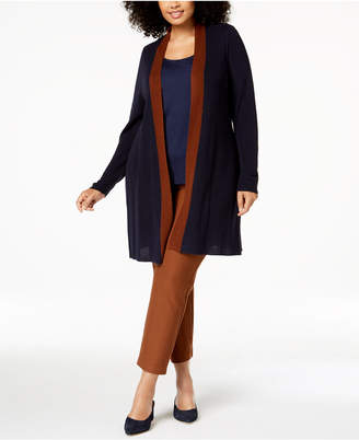 Eileen Fisher Tencel® Plus Size Long Colorblocked Cardigan