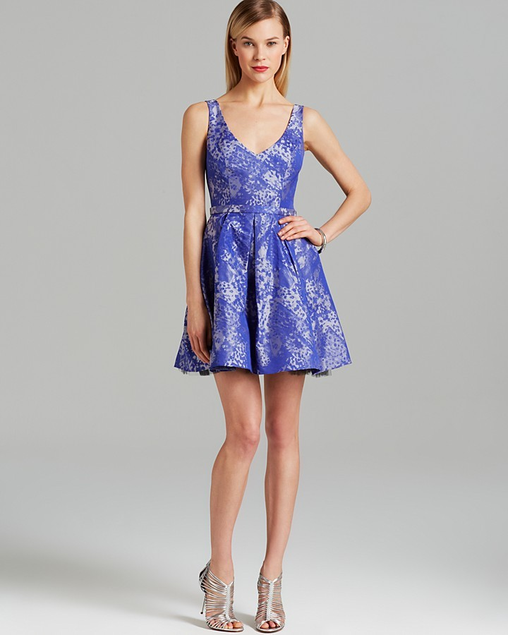ABS by Allen Schwartz Dress - Sleeveless V Neck Jacquard Print Fit and Flare