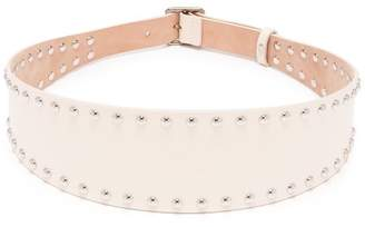 Alexander McQueen Stud Embellished Leather Belt - Womens - White