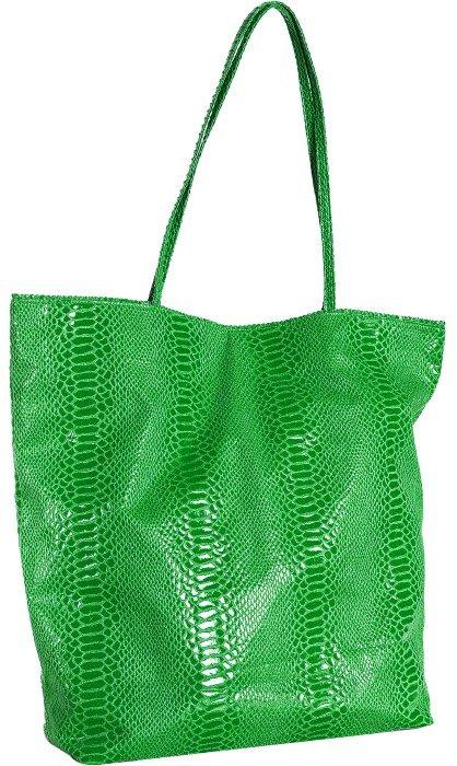 Carlos Falchi lime green snake printed tall tote