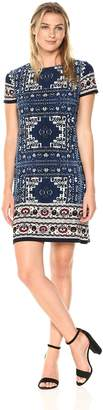 London Times Women's Moroccan Palace Printed Short Sleeve Shift