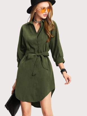 Shein Self Tie Waist Curved Hem Shirt Dress