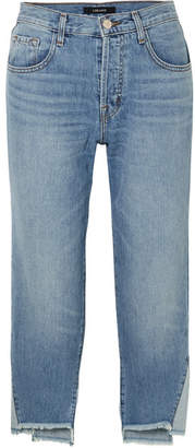 J Brand Wynne Cropped High-rise Straight-leg Jeans - Mid denim
